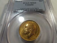T4 CANADA 1911 C GOLD SOVEREIGN PCGS MS 64