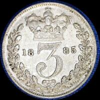 GREAT BRITAIN 1885 3 PENCE OLD STERLING SILVER WORLD COIN HIGH GRADE