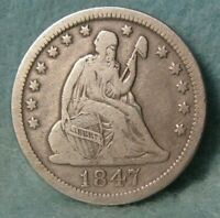 1847 SEATED LIBERTY SILVER QUARTER BETTER GRADE UNITED STATE
