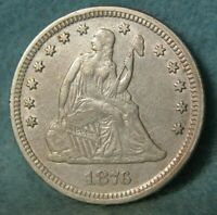 1876 SEATED LIBERTY SILVER QUARTER BETTER GRADE UNITED STATE