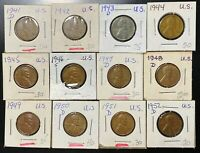 LOT OF 12X USA LINCOLN WHEAT CENTS - DATES: 1941 TO 1952