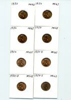 US ONE CENT. LINCOLN. 1950, 1950-D, 1950-S CHOICE & GEM UNCIRCULATED LOT OF 8
