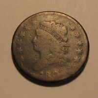 1808 CLASSIC HEAD LARGE CENT PENNY   CIRCULATED / REV DIE BREAK   164SA