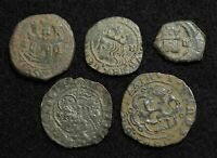 SPAIN. LOT OF 5 HIGH QUALITY MEDIEVAL TO 1600'S COINS