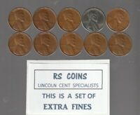 1940  THRU  1949 S MINT  LINCOLN CENT SET IN  HIGHER QUALITY  EXTRA  FINE