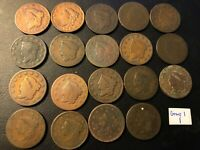 LOT OF 19 1817 1839 US LARGE CENT CORONET HEAD  SEE DETAILS