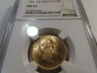 M7 SWEDEN 1901 EB GOLD 20 KRONOR NGC MS 65