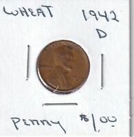 1942 D - LINCOLN WHEAT CENT - GOOD - BX8 - SHIPS FREE