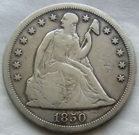 1850-O SEATED LIBERTY SILVER DOLLAR FINE DETAIL REVERSE DIG WE HAVE TOUGH DATES