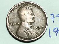 1917 S LINCOLN CENT WHEAT CENT 7587K