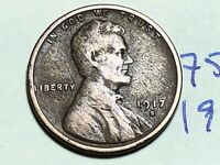 1917 S LINCOLN CENT WHEAT CENT 7590K