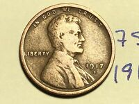 1917 S LINCOLN CENT WHEAT CENT 7591K