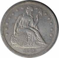 1840 LIBERTY SEATED SILVER DOLLAR EF UNCERTIFIED