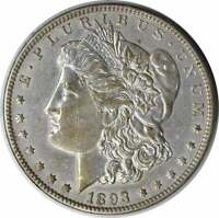 1893-O MORGAN SILVER DOLLAR AU UNCERTIFIED