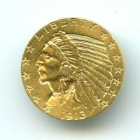 1913 S $5 GOLD INDIAN HEAD  UNC  BU    DATE  HIGH GRADE  REA
