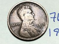 1917 S LINCOLN CENT WHEAT CENT 7651K