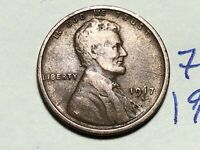 1917 S LINCOLN CENT WHEAT CENT 7629K