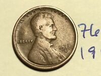 1917 S LINCOLN CENT WHEAT CENT 7601K