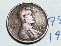 1917 S LINCOLN CENT WHEAT CENT 7585K