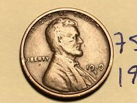 1919 S LINCOLN CENT WHEAT BACK PENNY 7529K