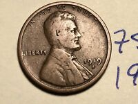1919 S LINCOLN CENT WHEAT BACK PENNY 7505K