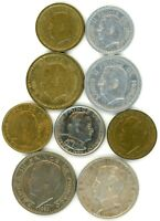 MONACO LOT OF 9 1 2 5 20 100 FRANCS 20 CENTS COINS 1943   1962 WITH 1 SILVER