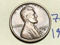 1927 D LINCOLN CENT WHEAT CENT 7674K