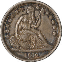 1840-P SEATED LIBERTY DIME 'NO DRAPERY'  AU  EYE APPEAL STRONG STRIKE