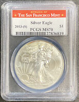 2013 S AMERICAN SILVER EAGLE STRUCK IN SAN FRANCISCO PCGS MS70 RED LABEL