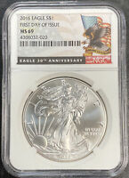 2016 AMERICAN SILVER EAGLE FIRST DAY ISSUE NGC MINT STATE 69 FLAG/EAGLE LABEL 30TH ANN.