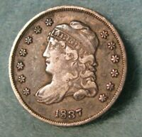 1837 CAPPED BUST SILVER HALF DIME BETTER GRADE UNITED STATES TYPE COIN