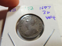A52 GREAT BRITAIN 1697 6 PENCE VF