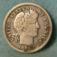 1894 BARBER SILVER DIME BETTER GRADE UNITED STATES COIN
