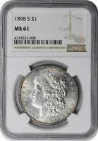 1898-S MORGAN SILVER DOLLAR MINT STATE 61 NGC