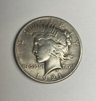 1921 US $1 PEACE DOLLAR HIGH RELIEF COIN CLEANED KEY DATE