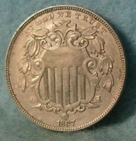 1867 WITH RAYS SHIELD NICKEL SHARP HIGH GRADE UNITED STATES