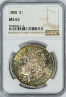 1888 MORGAN NGC MINT STATE 65 COLORFUL TONED SILVER DOLLAR, ALBUM TAB-TONED GEM