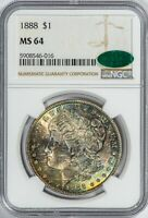 1888 MORGAN NGC MINT STATE 64 CAC COLORFUL, ALBUM TAB-TONED SILVER DOLLAR