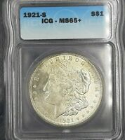 1921 S MORGAN SILVER DOLLAR ICG MINT STATE 65