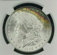 1896 RAINBOW TONED MORGAN SILVER DOLLAR NGC MINT STATE 64 STAR CRESCENT