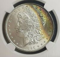 1896 RAINBOW TONED MORGAN SILVER DOLLAR NGC MINT STATE 63 STAR CRESCENT