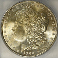 1889-P, MORGAN SILVER $1 MINT STATE 65 LIGHTLY TONED OBVERSE, MOSTLY WHITE REVERSE