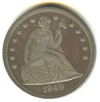 1849 SEATED LIBERTY DOLLAR MS DETAILS SCARCE DATE EXCELLENT