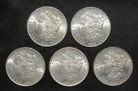 LOT OF 5 MORGAN DOLLARS ALL CHOICE BU 1884 1898 1889 1889 18