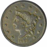 1835 LARGE CENT VF UNCERTIFIED