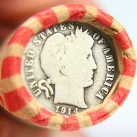 1914 BARBER DIME ON END OF 50 COIN MIXED WHEAT ROLL EXACT RO