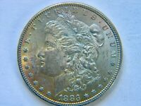 1883 $1 MORGAN SILVER DOLLAR GORGEOUS RAINBOW TONING   WOW