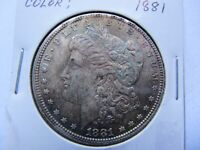 1881 $1 MORGAN SILVER DOLLAR UNCIRCULATED AND LY TONED