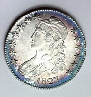 1827 CAPPED BUST SILVER 50 CENTS GEM UNC SQUARE BASE 2 NICE COLOR  THIS NICE