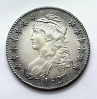 1827 CAPPED BUST SILVER 50 CENTS NEAR GEM UNC NICE TONING    THIS NICE